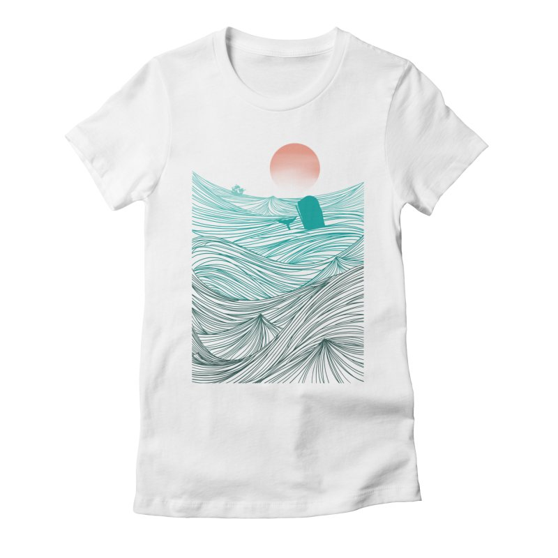 Behind the great whale Women's Fitted T-Shirt by Sebasebi