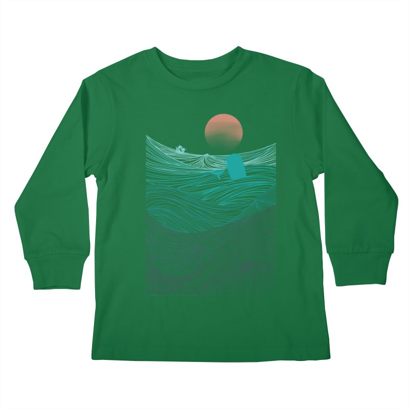 Behind the great whale Kids Longsleeve T-Shirt by Sebasebi