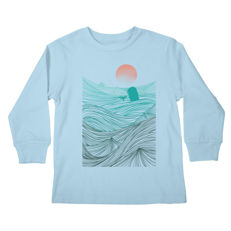Behind the great whale Kids Longsleeve T-Shirt by Sebasebi