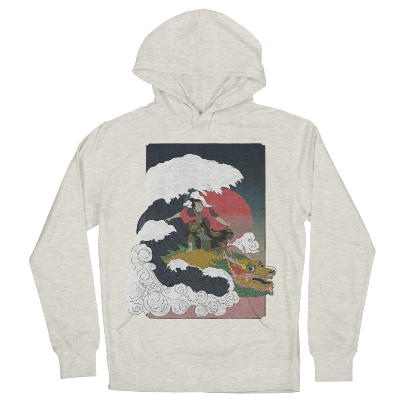 Surfing samurai Women's French Terry Pullover Hoody by Sebasebi