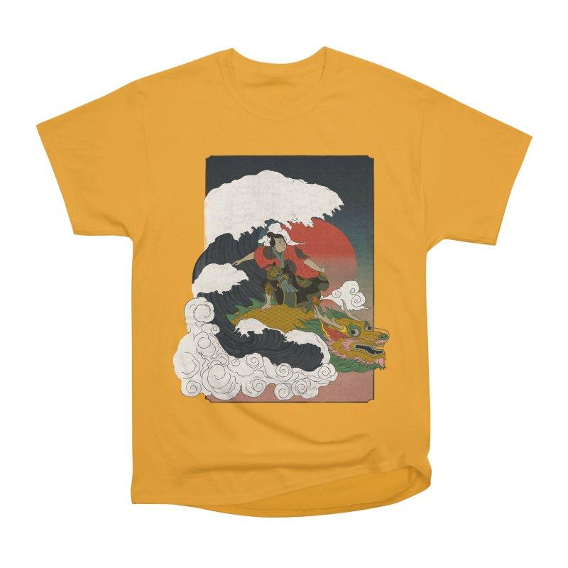 Surfing samurai Women's Heavyweight Unisex T-Shirt by Sebasebi