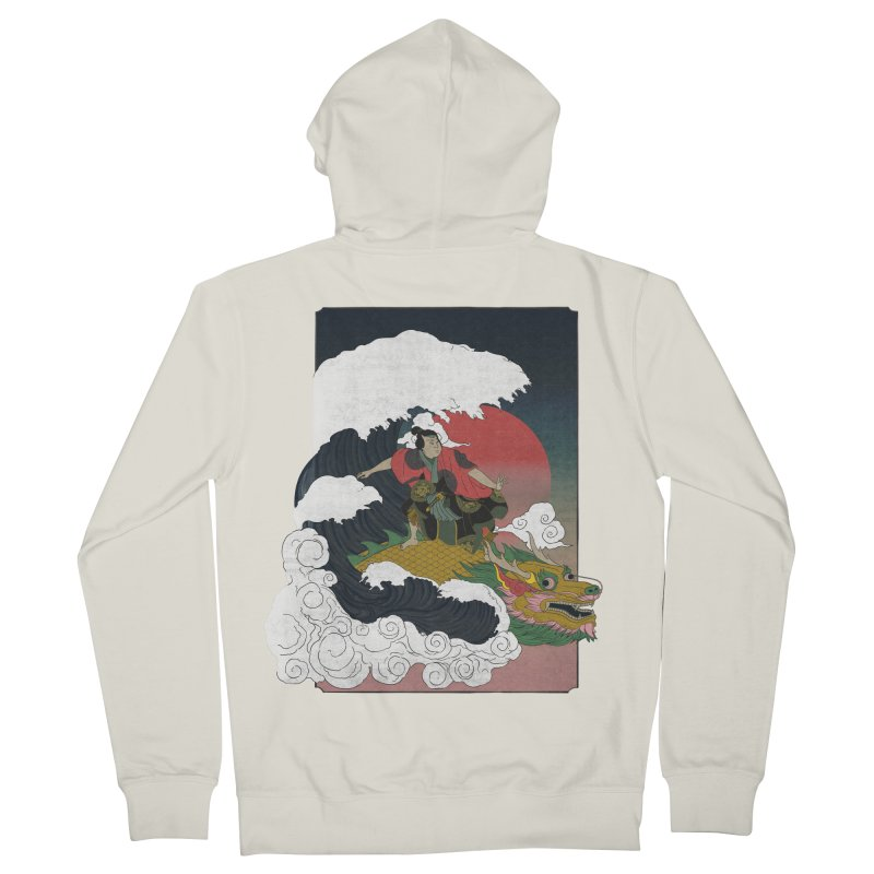 Surfing samurai Men's French Terry Zip-Up Hoody by Sebasebi