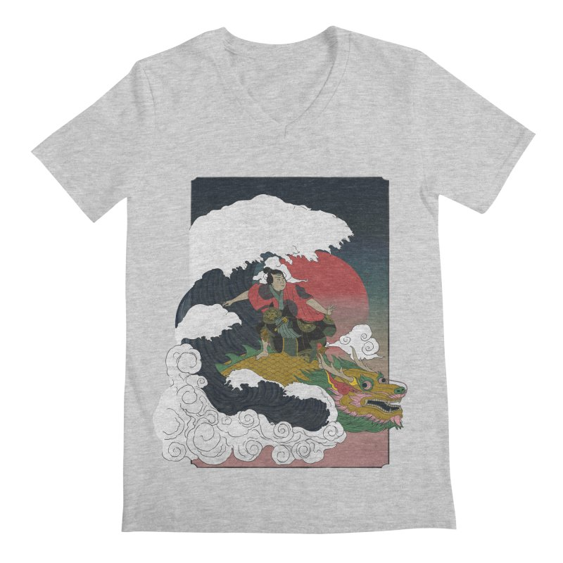 Surfing samurai Men's Regular V-Neck by Sebasebi