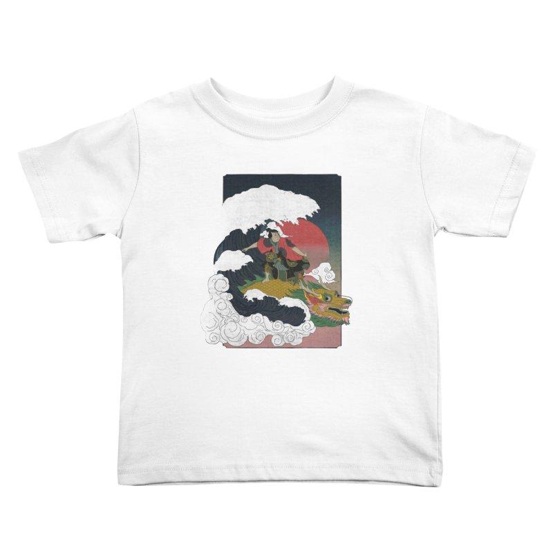 Surfing samurai Kids Toddler T-Shirt by Sebasebi