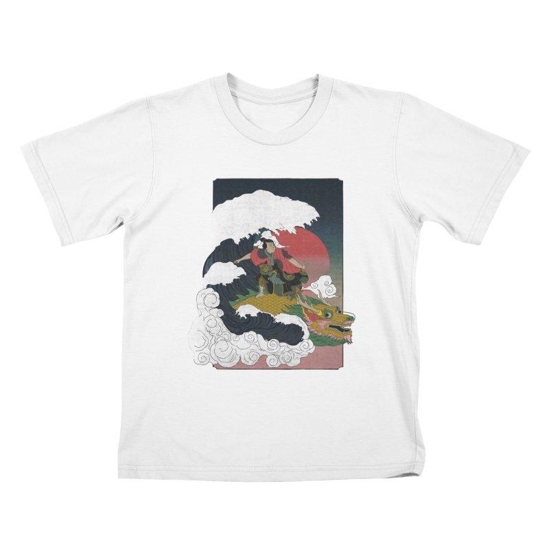 Surfing samurai Kids T-Shirt by Sebasebi