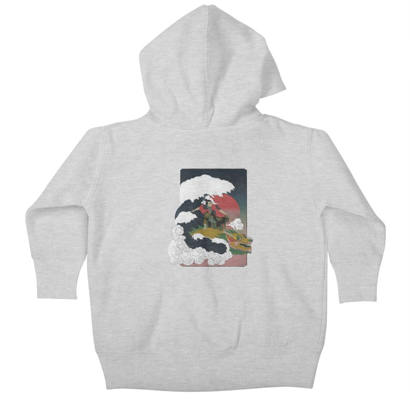 Surfing samurai Kids Baby Zip-Up Hoody by Sebasebi