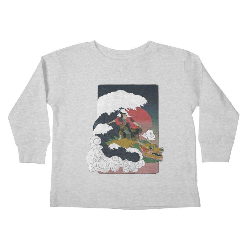 Surfing samurai Kids Toddler Longsleeve T-Shirt by Sebasebi