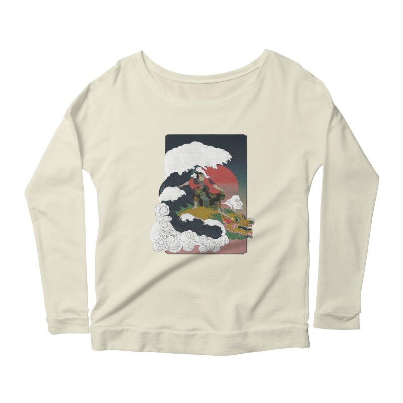 Surfing samurai Women's Scoop Neck Longsleeve T-Shirt by Sebasebi
