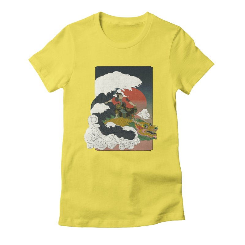Surfing samurai Women's Fitted T-Shirt by Sebasebi