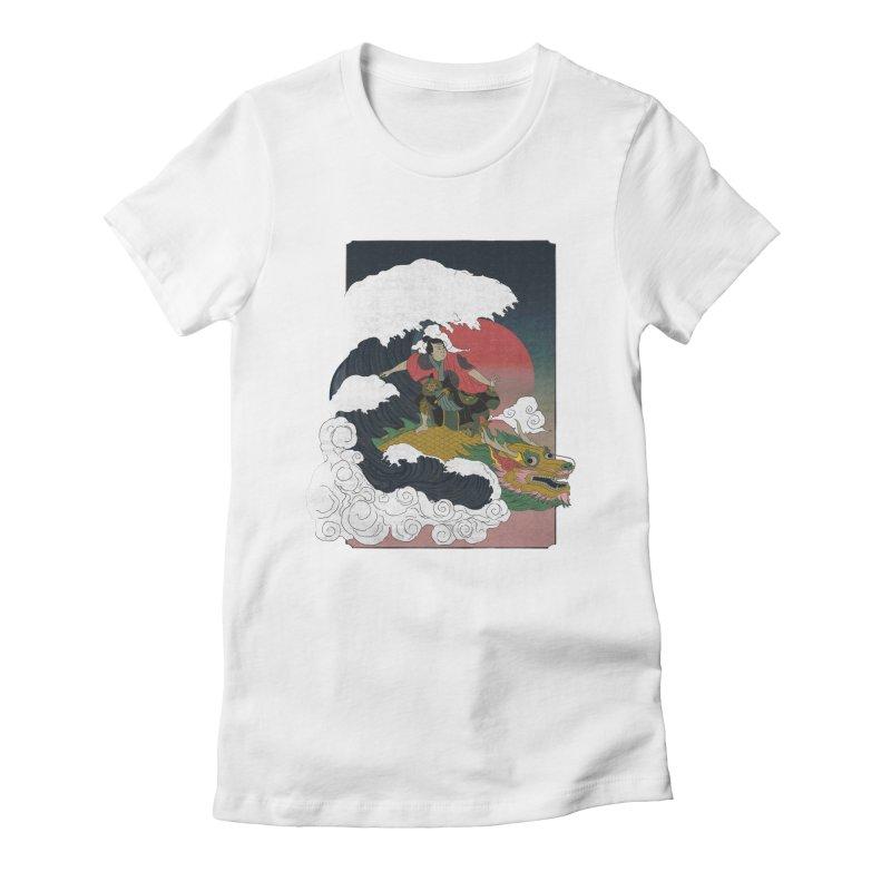 Surfing samurai Women's Fitted T-Shirt by Sebasebi