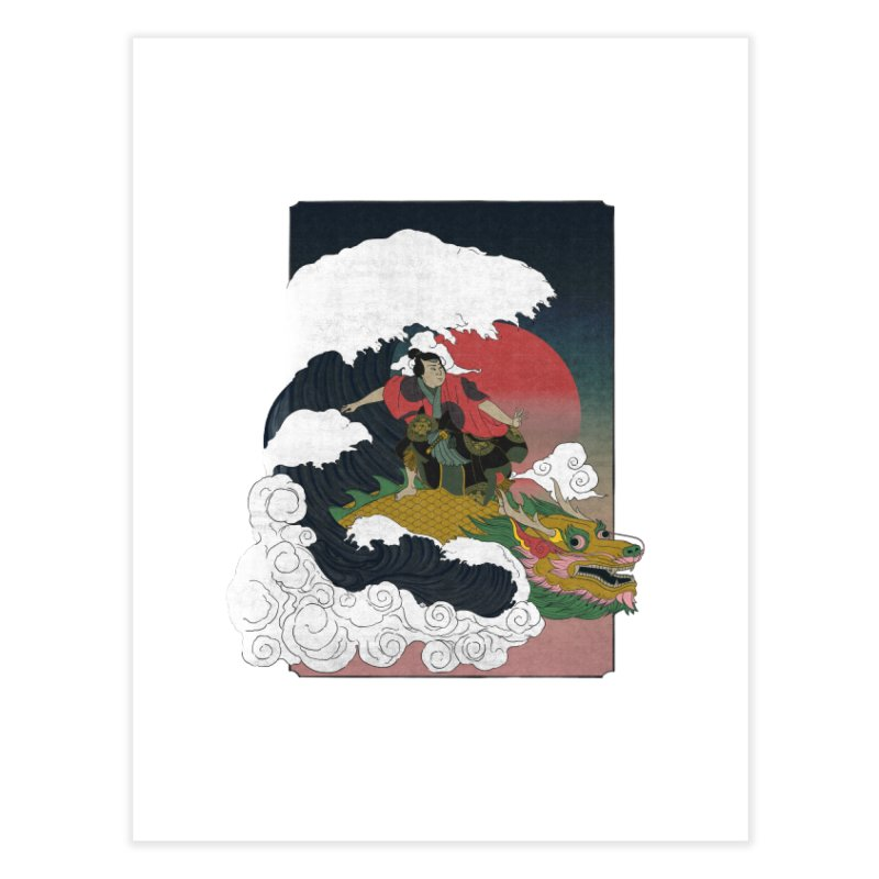 Surfing samurai Home Fine Art Print by Sebasebi