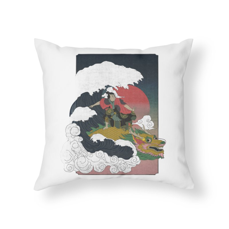 Surfing samurai Home Throw Pillow by Sebasebi