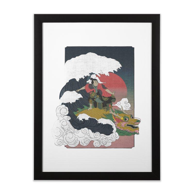 Surfing samurai Home Framed Fine Art Print by Sebasebi