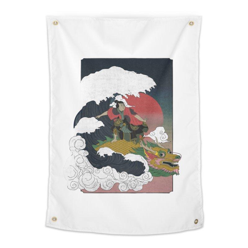 Surfing samurai Home Tapestry by Sebasebi
