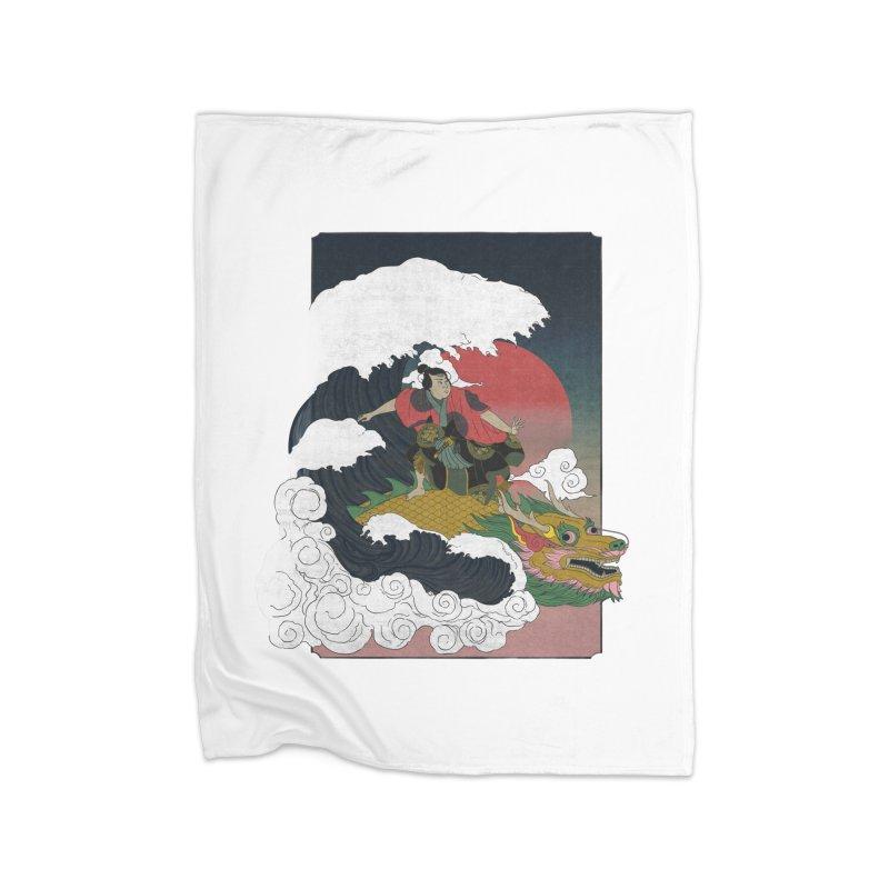 Surfing samurai Home Blanket by Sebasebi