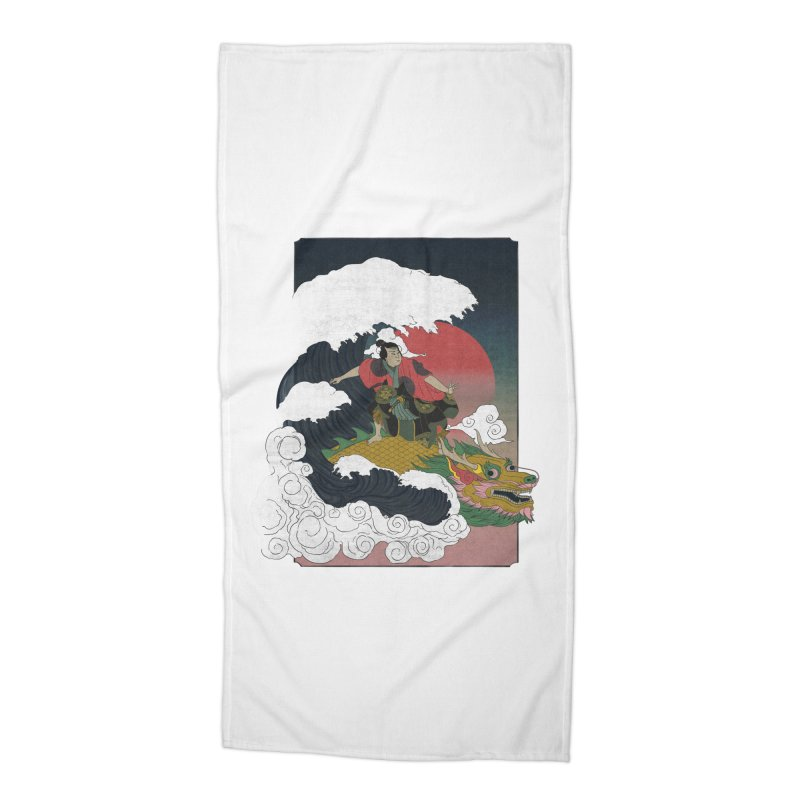 Surfing samurai Accessories Beach Towel by Sebasebi