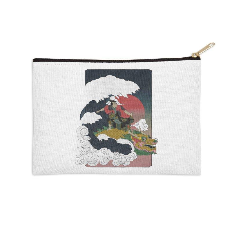 Surfing samurai Accessories Zip Pouch by Sebasebi