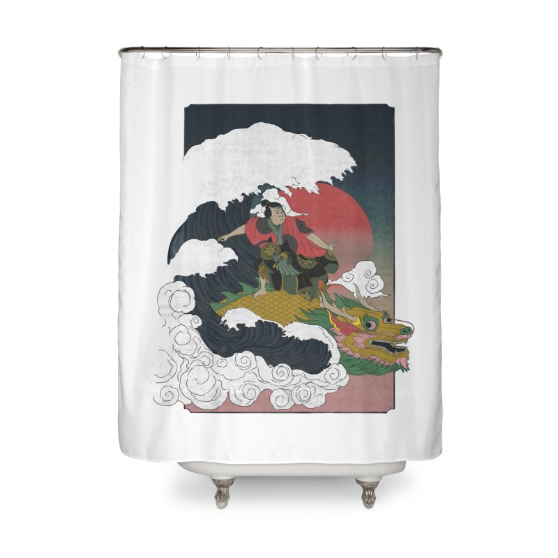 Surfing samurai Home Shower Curtain by Sebasebi