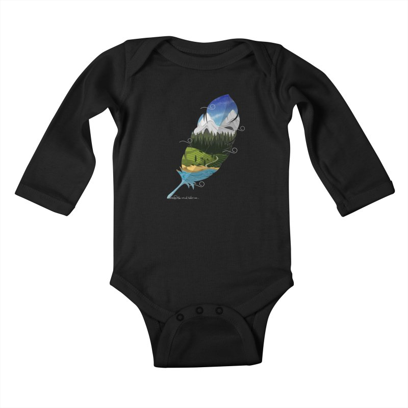 Wherever the wind take me final Kids Baby Longsleeve Bodysuit by Sebasebi