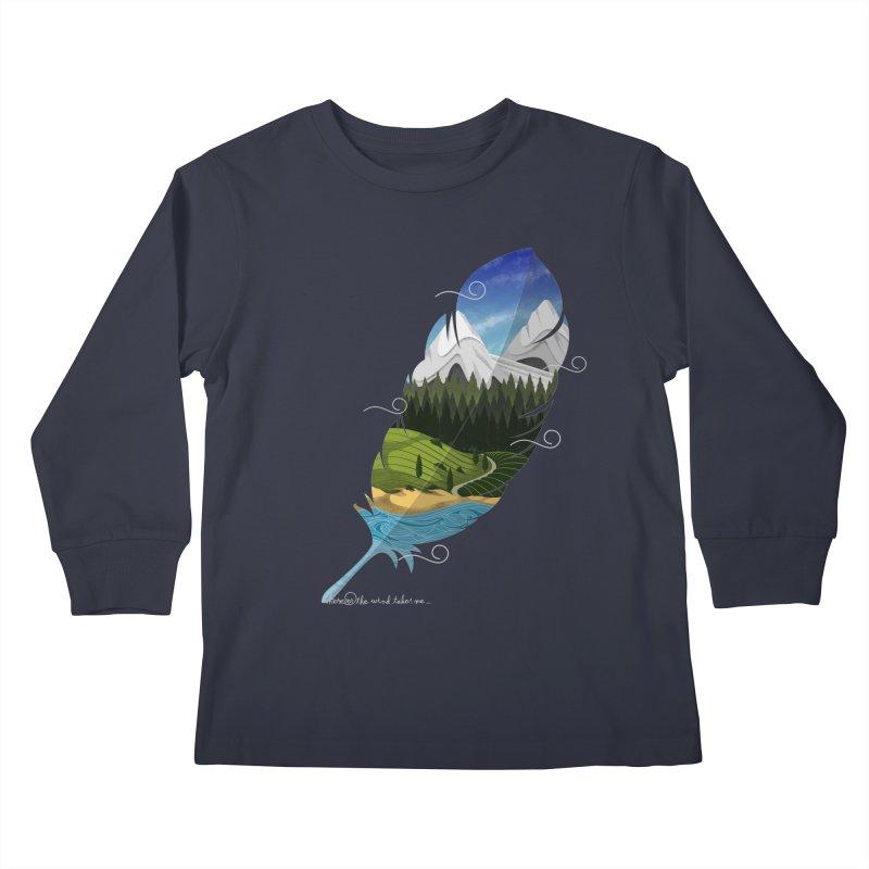 Wherever the wind take me Kids Longsleeve T-Shirt by Sebasebi