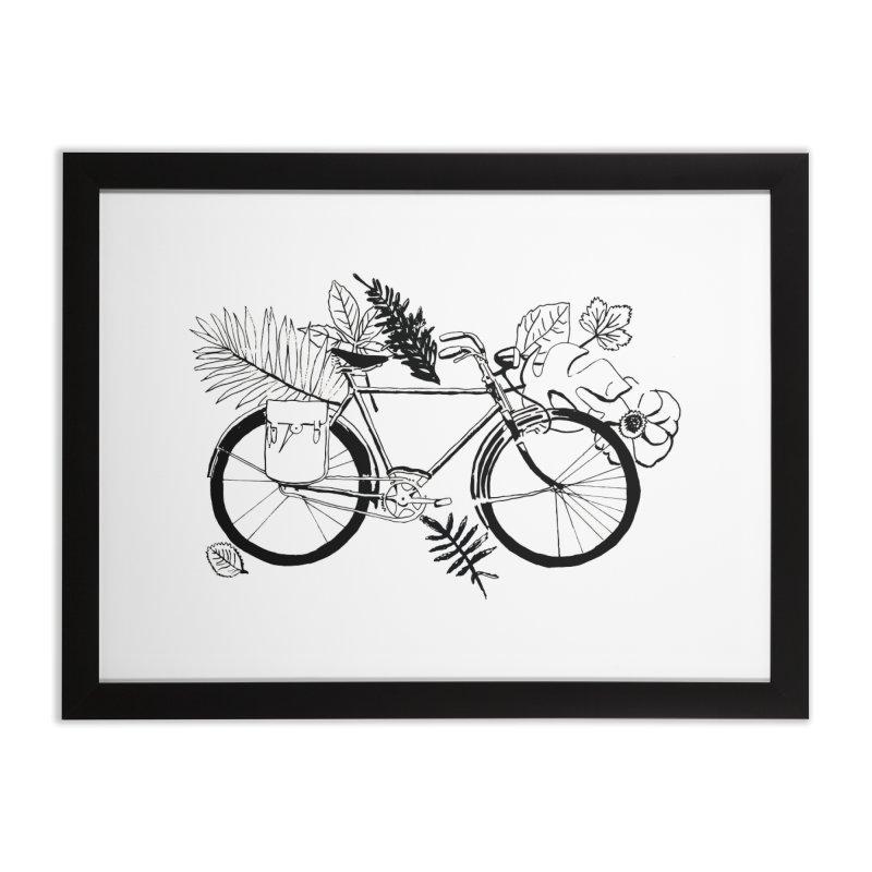 bike with plants Home Framed Fine Art Print by sebastiansrd's Artist Shop