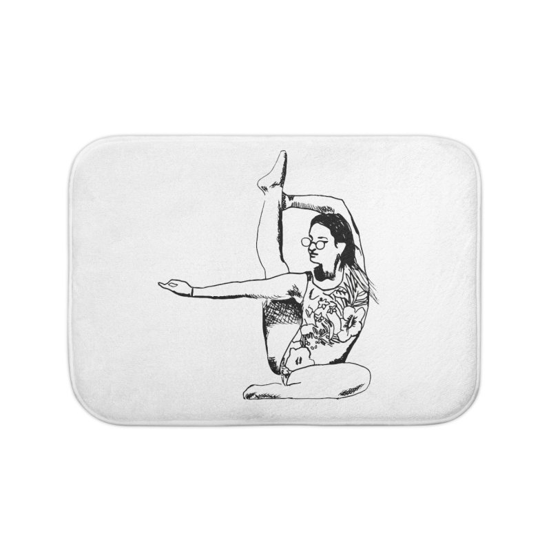 girl doing yoga Home Bath Mat by sebastiansrd's Artist Shop