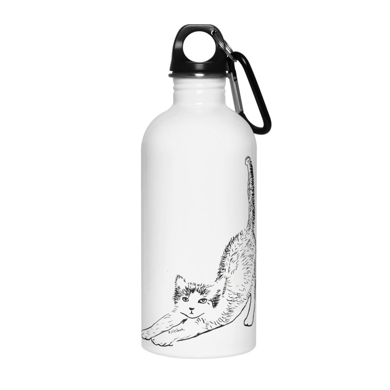 cat stretching Accessories Water Bottle by sebastiansrd's Artist Shop