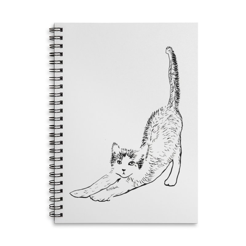 cat stretching Accessories Lined Spiral Notebook by sebastiansrd's Artist Shop