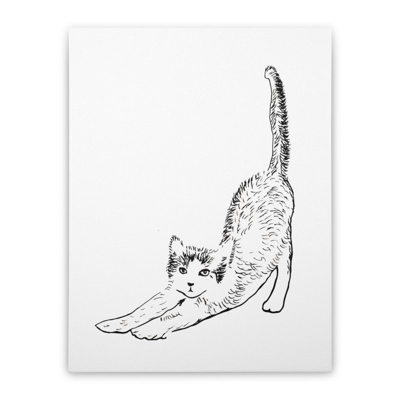 cat stretching Home Stretched Canvas by sebastiansrd's Artist Shop
