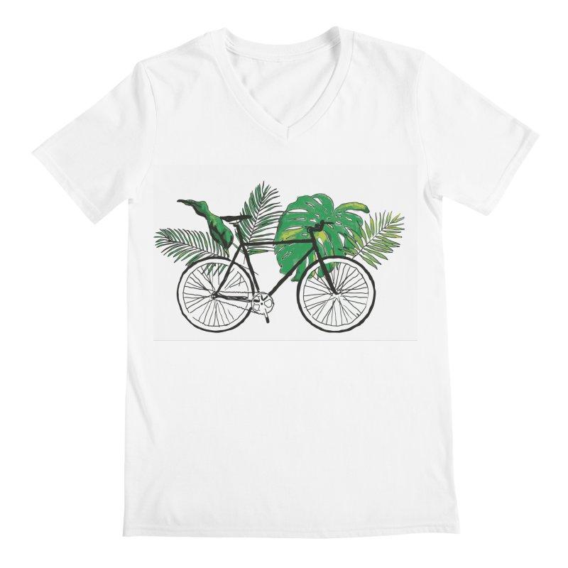 bike and plants Men's Regular V-Neck by sebastiansrd's Artist Shop