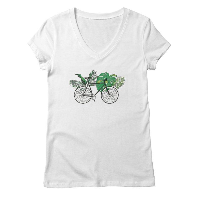 bike and plants Women's Regular V-Neck by sebastiansrd's Artist Shop