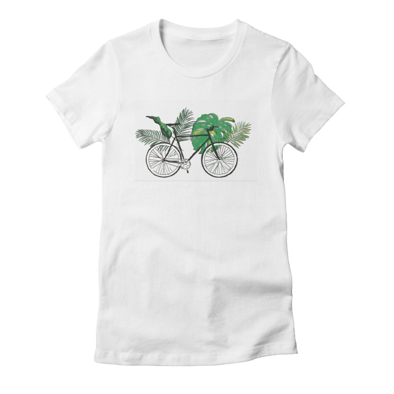 bike and plants Women's Fitted T-Shirt by sebastiansrd's Artist Shop