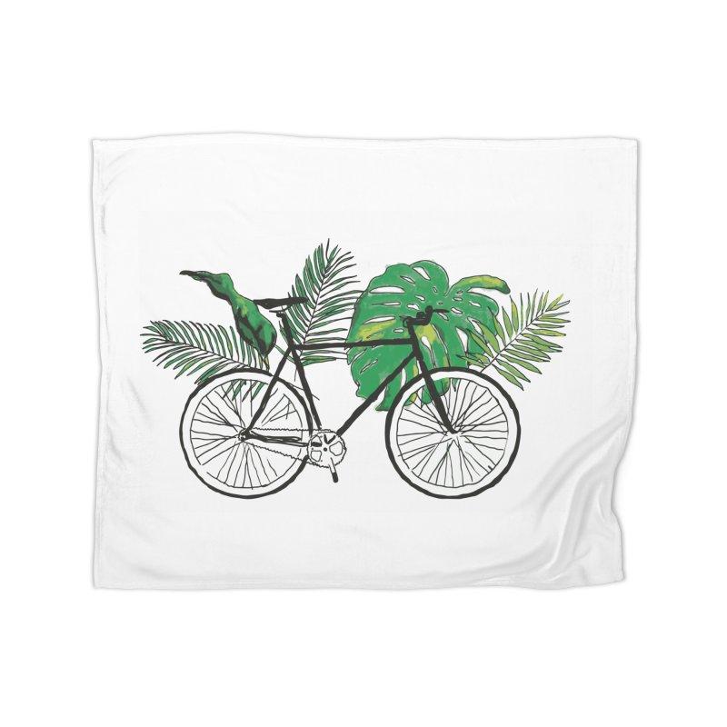 bike and plants Home Fleece Blanket Blanket by sebastiansrd's Artist Shop