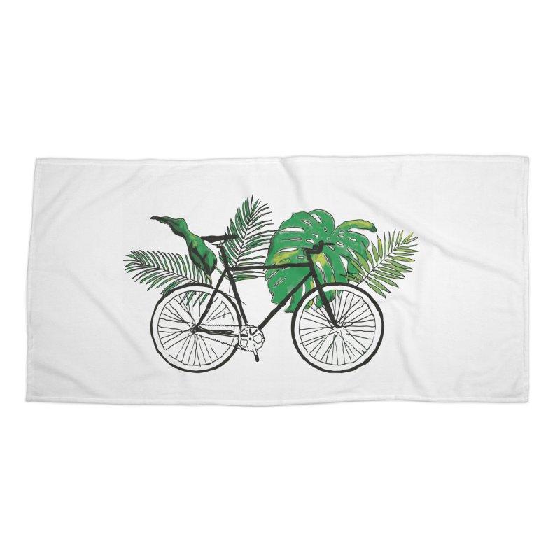 bike and plants Accessories Beach Towel by sebastiansrd's Artist Shop