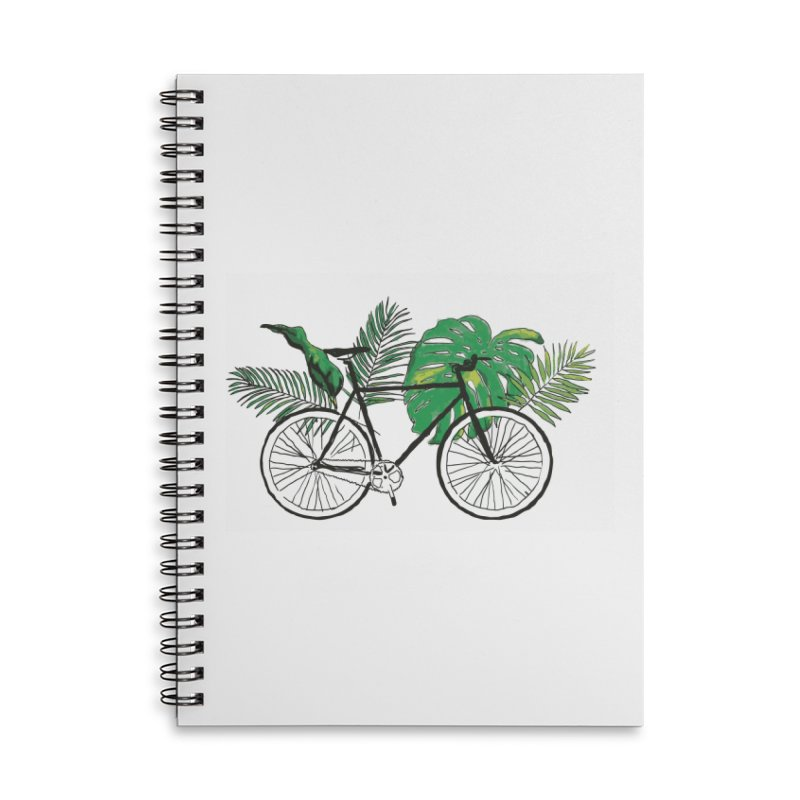 bike and plants Accessories Lined Spiral Notebook by sebastiansrd's Artist Shop