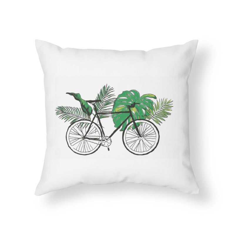 bike and plants Home Throw Pillow by sebastiansrd's Artist Shop