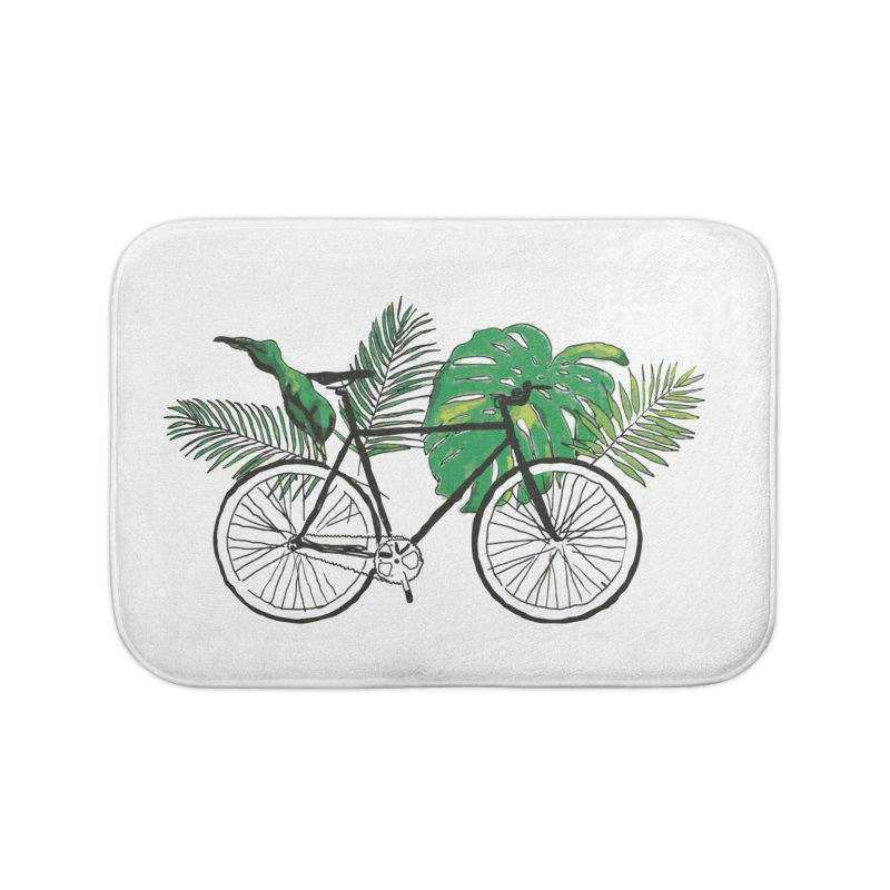 bike and plants Home Bath Mat by sebastiansrd's Artist Shop