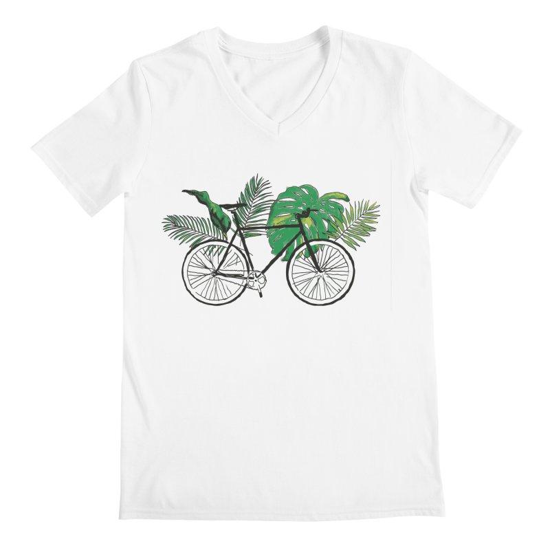 bike with plants Men's Regular V-Neck by sebastiansrd's Artist Shop