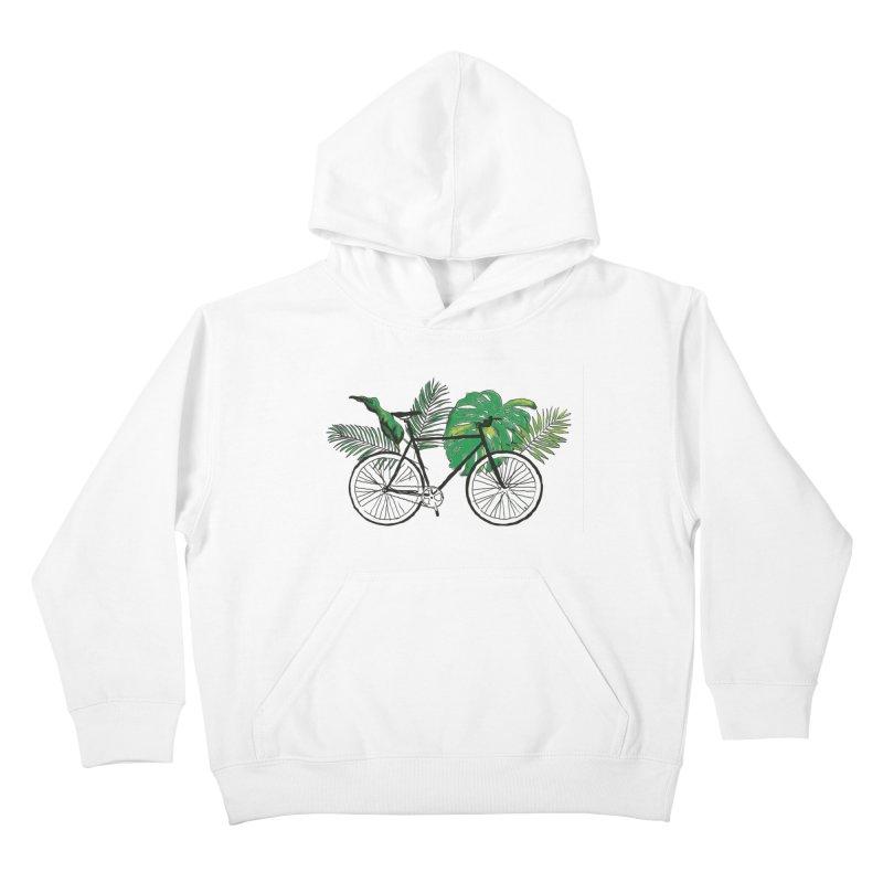 bike with plants Kids Pullover Hoody by sebastiansrd's Artist Shop