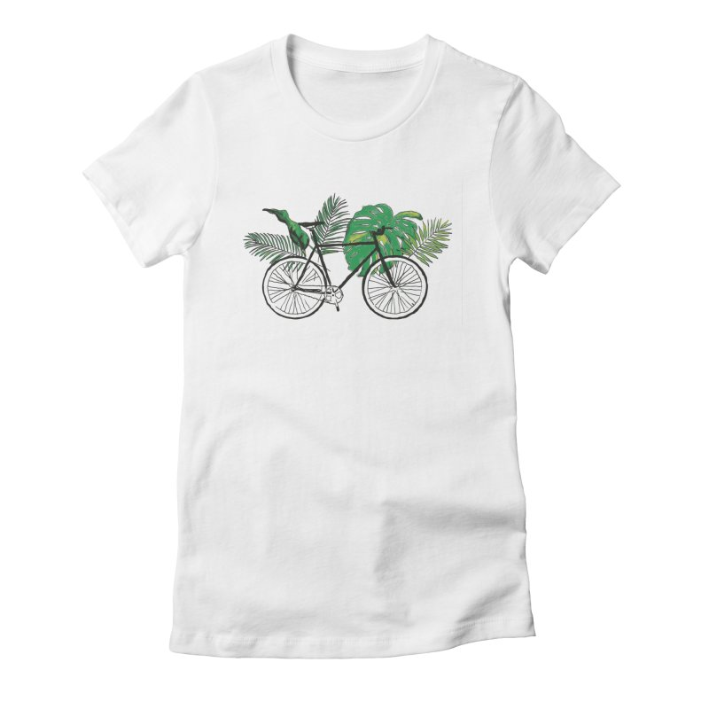 bike with plants Women's Fitted T-Shirt by sebastiansrd's Artist Shop