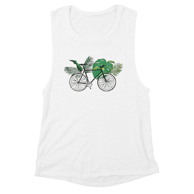 bike with plants Women's Muscle Tank by sebastiansrd's Artist Shop