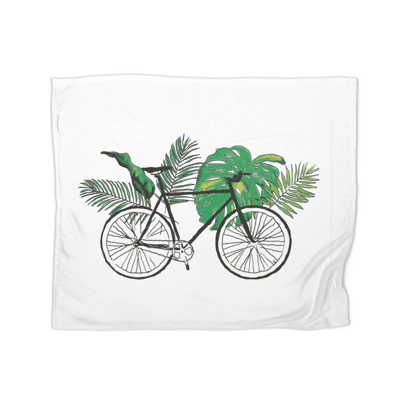 bike with plants Home Fleece Blanket Blanket by sebastiansrd's Artist Shop