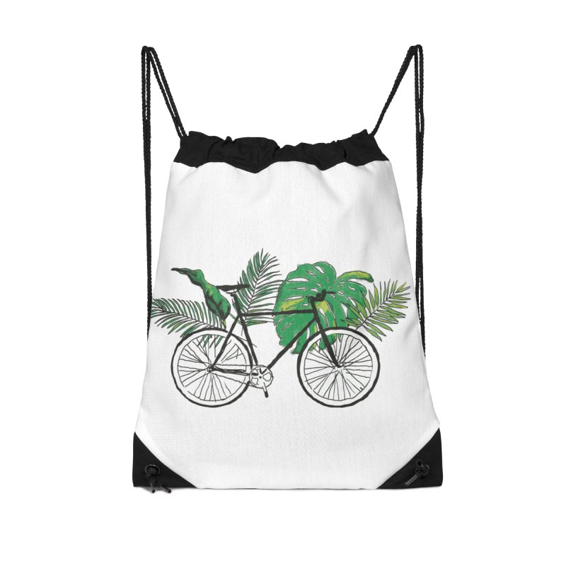 bike with plants Accessories Drawstring Bag Bag by sebastiansrd's Artist Shop