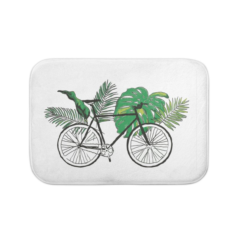 bike with plants Home Bath Mat by sebastiansrd's Artist Shop