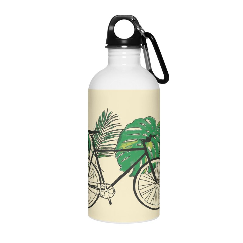 bike with tropical plants Accessories Water Bottle by sebastiansrd's Artist Shop