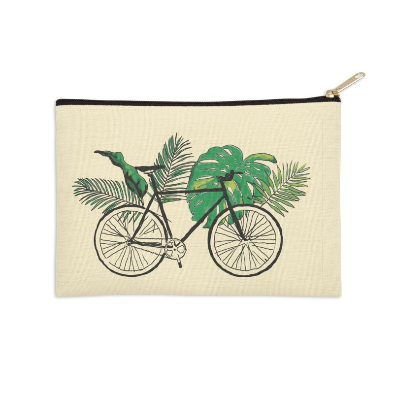 bike with tropical plants Accessories Zip Pouch by sebastiansrd's Artist Shop