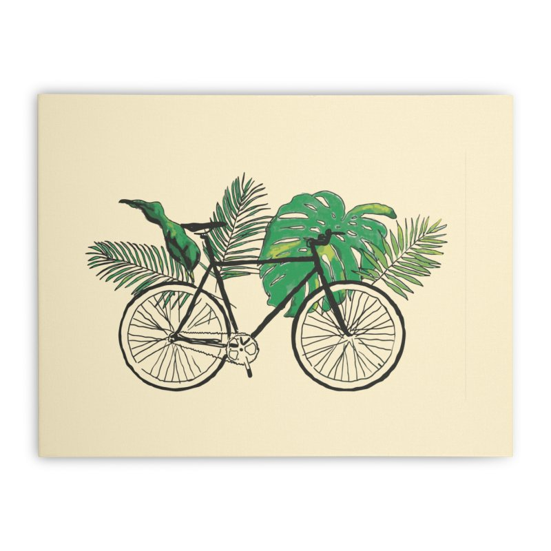 bike with tropical plants Home Stretched Canvas by sebastiansrd's Artist Shop