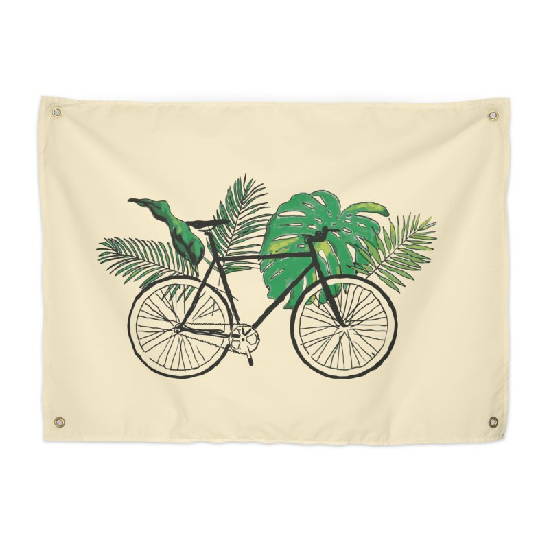 bike with tropical plants Home Tapestry by sebastiansrd's Artist Shop