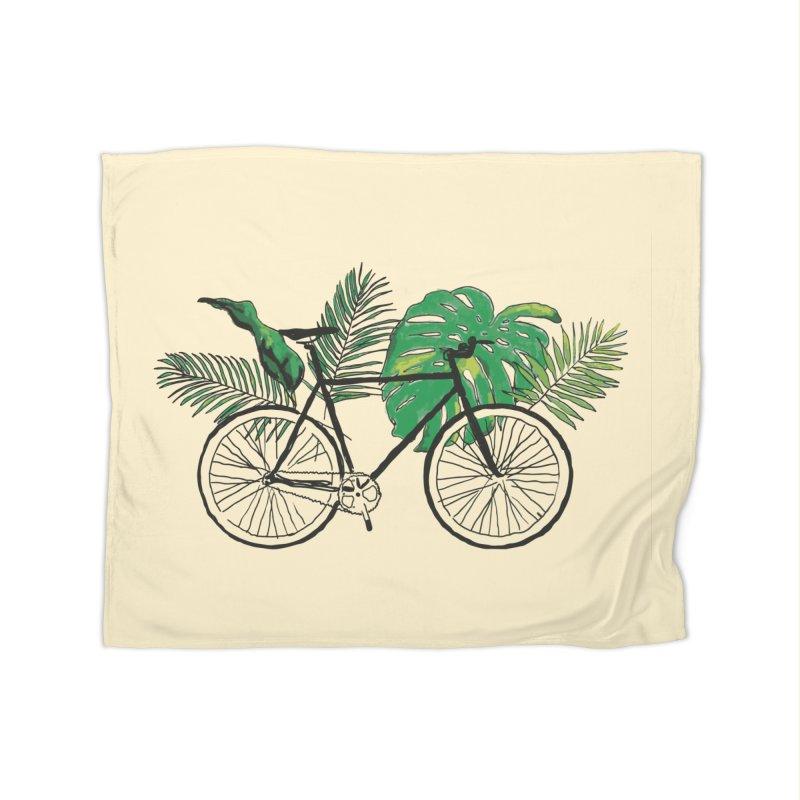 bike with tropical plants Home Fleece Blanket Blanket by sebastiansrd's Artist Shop