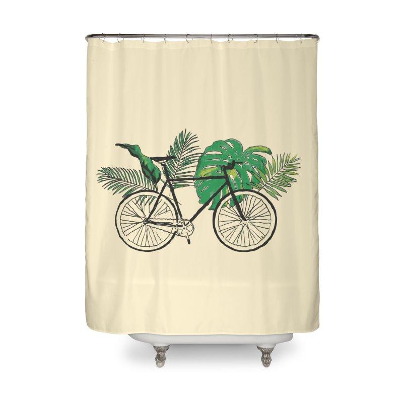 bike with tropical plants Home Shower Curtain by sebastiansrd's Artist Shop